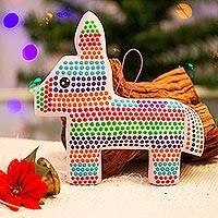 Ceramic wall art, 'Festive Pinata' - Hand-Painted Ceramic Pinata Wall Art from Mexico