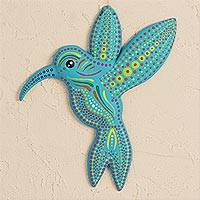 Ceramic wall art, 'Turquoise Hummingbird' - Hand-Painted Ceramic Hummingbird Wall Art from Mexico