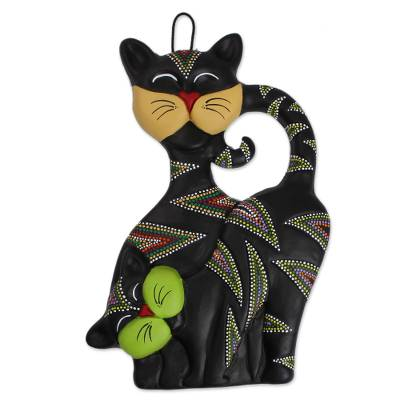 Ceramic wall art, 'Cat Friends' - Hand-Painted Ceramic Cat Wall Art from Mexico