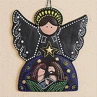 Ceramic wall art, 'Angelic Nativity' - Hand-Painted Ceramic Nativity Wall Art from Mexico