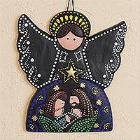 Ceramic wall art, 'Angelic Nativity'
