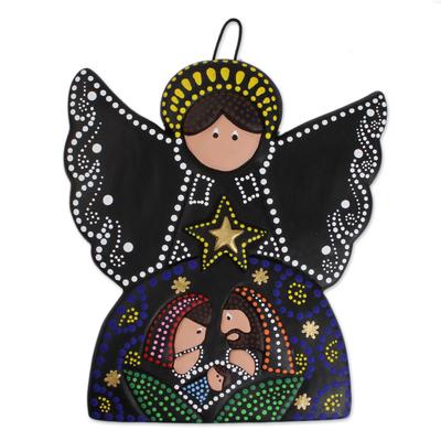 Ceramic wall art, 'Angelic Nativity' - Hand-Painted Ceramic Nativity Wall Art from Mexico
