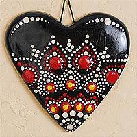 Ceramic wall art, 'Mandala Heart' - Hand-Painted Ceramic Heart Wall Art from Mexico