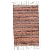 Wool area rug, 'Layers of Earth' (2x3) - Earth-Tone Striped Wool Area Rug from Mexico (2x3)