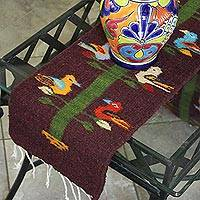 Wool table runner, 'Zapotec Tree' - Handwoven Tree Motif Zapotec Wool Table Runner from Mexico