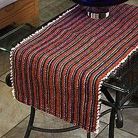 Wool table runner, 'World of Stripes' - Handwoven Striped Zapotec Wool Table Runner from Mexico