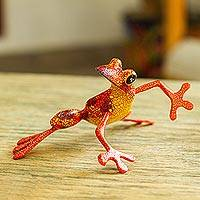 Wood alebrije sculpture, 'Lithe Tree Frog' - Wood Alebrije Tree Frog Sculpture from Mexico