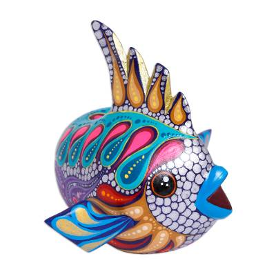 Hand-Painted Wood Alebrije Fish Figurine from Mexico