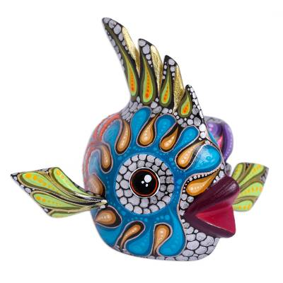 Colorful Wood Alebrije Fish Figurine from Mexico
