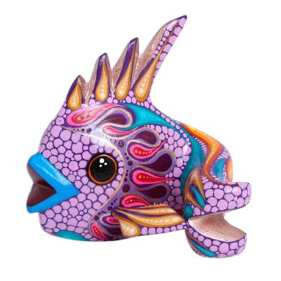 Handcrafted Wood Alebrije Fish Figurine from Mexico