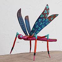 Wood alebrije sculpture, 'Alighting Dragonfly' - Handcrafted Wood Alebrije Dragonfly Sculpture from Mexico