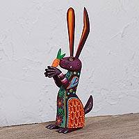Wood alebrije sculpture, 'Hungry Rabbit' - Hand-Painted Wood Alebrije Rabbit Sculpture from Mexico