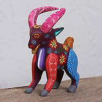 Wood alebrije figurine, 'Pink-Horned Goat' - Hand-Painted Wood Alebrije Goat Figurine from Mexico