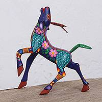 Wood alebrije sculpture, 'Floral Deer' - Hand-Painted Wood Alebrije Deer Sculpture from Mexico