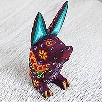 Wood alebrije figurine, 'Little Piglet' - Hand-Painted Copal Wood Alebrije Pig Figurine from Mexico