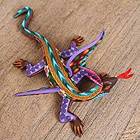 Wood alebrije sculpture, 'Lithe Dragon' - Hand-Painted Wood Alebrije Dragon Sculpture from Mexico