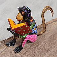 Wood alebrije sculpture, 'Thoughtful Monkey' - Hand-Painted Wood Alebrije Sculpture of a Monkey Reading