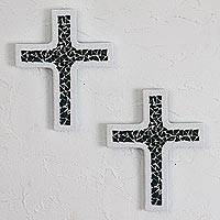 Glass mosaic wall art, 'Divine Faith' (pair) - Dark Turquoise and White Glass Mosaic on Wood Crosses (Pair)