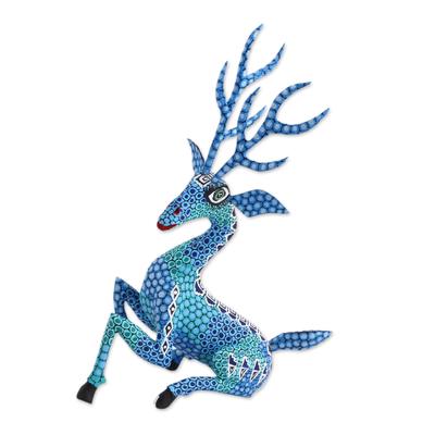 Wood alebrije sculpture, 'Resting Deer' - Hand-Painted Wood Alebrije Deer Sculpture in Blue