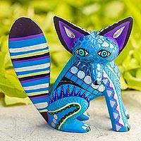 Wood alebrije sculpture, 'Cool Fox' - Handcrafted Wood Alebrije Fox Sculpture in Blue from Mexico