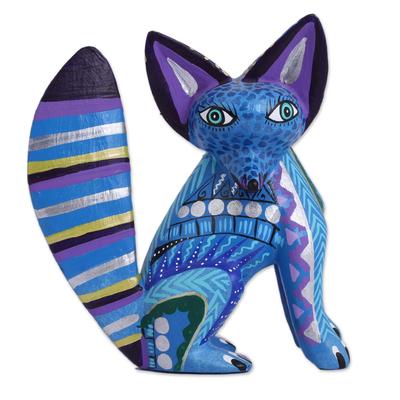 Wood alebrije sculpture, 'Cool Fox' - Handcrafted Wood Alebrije Fox Sculpture in Blue from Mexico