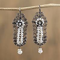 Cultured pearl filigree dangle earrings, 'Antique Spirals' - Spiral Motif Cultured Pearl Filigree Dangle Earrings