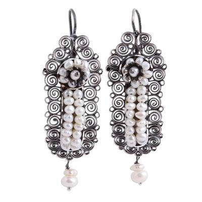 Spiral Motif Cultured Pearl Filigree Dangle Earrings