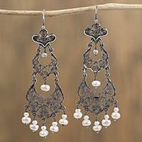 Cultured pearl filigree chandelier earrings, 'Pearl Delicacy' - Cultured Pearl Filigree Chandelier Earrings from Mexico