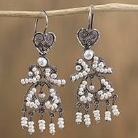 Cultured pearl filigree chandelier earrings, 'Passion for Love' - Heart Motif Cultured Pearl Filigree Chandelier Earrings