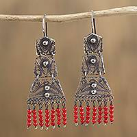 Sterling silver filigree chandelier earrings, 'Artisanal Symmetry in Red' - Sterling Silver Filigree and Glass Bead Chandelier Earrings