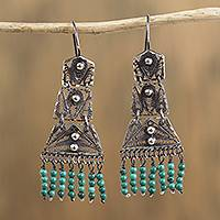 Sterling silver filigree chandelier earrings, 'Artisanal Symmetry in Blue' - Sterling Silver Filigree and Recon. Turquoise Earrings