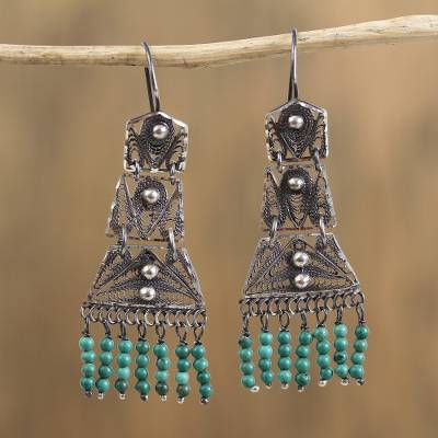 Sterling silver filigree chandelier earrings, Artisanal Symmetry in Blue