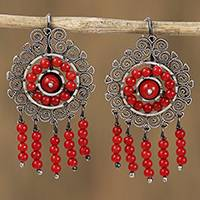 Sterling silver filigree chandelier earrings, 'Mexican Shield in Red' - Sterling Silver Filigree Chandelier Earrings in Red