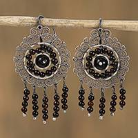 Sterling silver filigree chandelier earrings, 'Dark Mexican Shield' - Sterling Silver Filigree Chandelier Earrings
