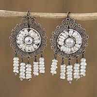Cultured pearl filigree chandelier earrings, 'Mexican Shield' - Cultured Pearl Filigree Chandelier Earrings from Mexico
