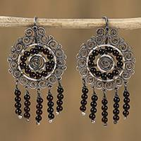 Sterling silver filigree chandelier earrings, 'Mexican Shield' - Sterling Silver Filigree Beaded Chandelier Earrings