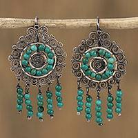 Sterling silver filigree chandelier earrings, 'Mexican Shield in Turquoise' - Sterling Silver Filigree and Recon. Turquoise Earrings