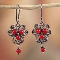 Sterling silver filigree dangle earrings, 'Red Succulence' - Sterling Silver Filigree Dangle Earrings with Red Glass Bead