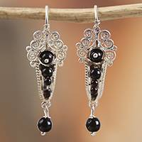 Sterling silver filigree dangle earrings, 'Antique Scrolls' - Sterling Silver Filigree Dangle Earrings in Black