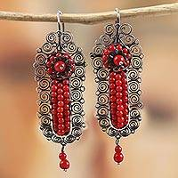 Sterling silver filigree dangle earrings, 'Antique Spirals' - Sterling Silver and Red Glass Filigree Dangle Earrings