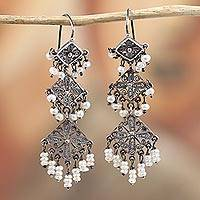 Cultured pearl filigree chandelier earrings, 'Rain of Desire' - Diamond Motif Cultured Pearl Filigree Chandelier Earrings