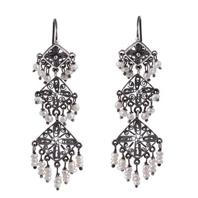 Diamond Motif Cultured Pearl Filigree Chandelier Earrings