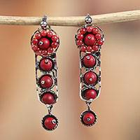 Sterling silver dangle earrings, 'Red Beauty' - Sterling Silver and Red Glass Beaded Earrings from Mexico