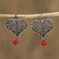 Sterling silver filigree dangle earrings, 'Scroll Hearts' - Heart-Shaped Sterling Silver Filigree Dangle Earrings