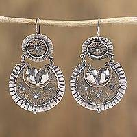 Sterling silver filigree dangle earrings, 'Flower Scrolls' - Floral Sterling Silver Filigree Dangle Earrings from Mexico