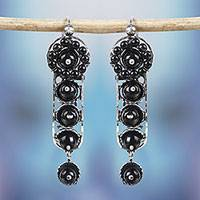 Sterling silver dangle earrings, 'Obscure Beauty' - Sterling Silver and Black Glass Beaded Dangle Earrings