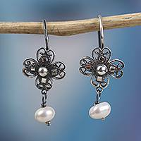 Cultured pearl filigree dangle earrings, 'Antique Clover' - Cultured Pearl Filigree Dangle Earrings from Mexico