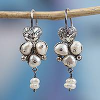 Cultured pearl dangle earrings, 'Berries of Love' - Heart Motif Cultured Pearl Dangle Earrings from Mexico
