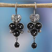 Sterling silver beaded dangle earrings, 'Berries of Love' - Sterling Silver and Glass Beaded Dangle Earrings from Mexico