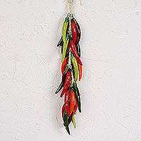 Ceramic decorative accent, 'Bird's Beak Chile Bunch' - Ceramic Pepper Decorative Ristra from Mexico
